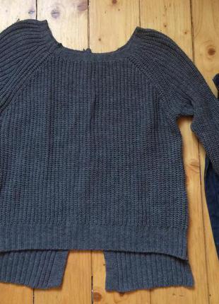 Серий теплий вязаний свитер кофта интересная спинка