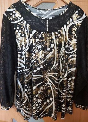 Нарядная блуза. трикотаж, размер - 62-64