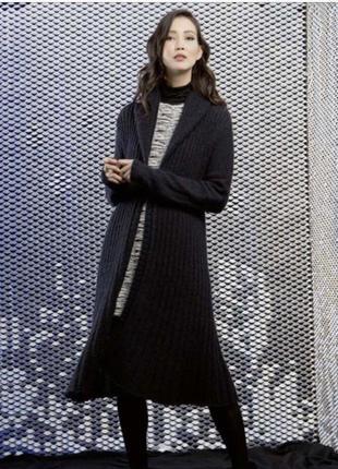 Вязанный чёрный кардиган - пальто