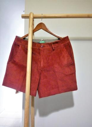 50-52 р крутые вельветовые шорты кармин benetton