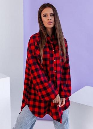 Новая красная женская рубашка в клеточку оверсайз oversize