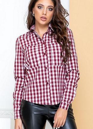 Новая женская рубашка в клеточку стильная тренд 🔝