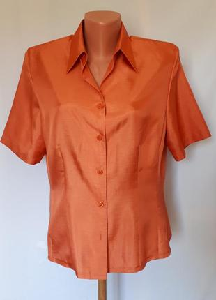 Оранжево-кораловая блуза с коротким рукавом basler (размер 12-14)