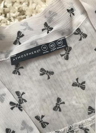 Полупрозрачная блузка atmosphere с бантиками женская блуза с завязкой3 фото