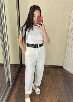 Белые штаны джогеры брюки білі рівні ровные італія нова колекція imperial