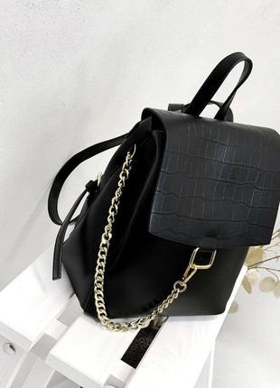 Мега крутой стильный кожаный женский рюкзак