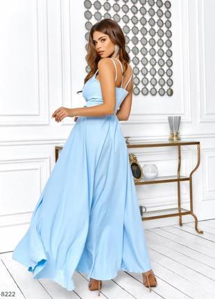 Длинное воздушное платье в пол с разрезом на юбке