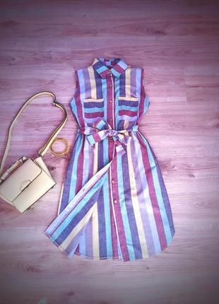 Платье рубашка в полоску лен