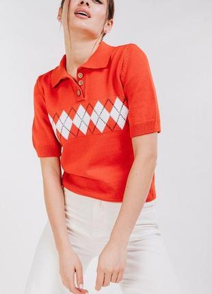 Красная футболка, поло, вязаная футболка , футболка поло