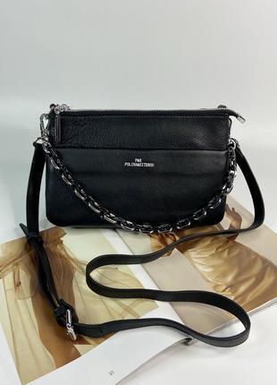 Женская кожаная сумка через плечо на три отделения polina & eiterou жіноча шкіряна
