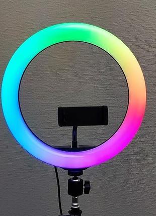 Кольцевая светодиодная цветная лампа rgb led soft ring light mj26 26 см