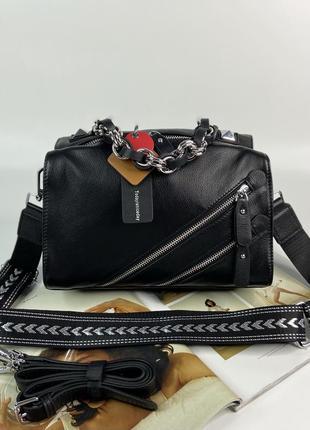 Женская кожаная сумка polina & eiterou жіноча шкіряна