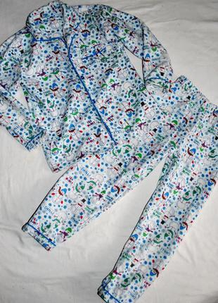 Пижама хлопковая, снеговики, 5-7лет