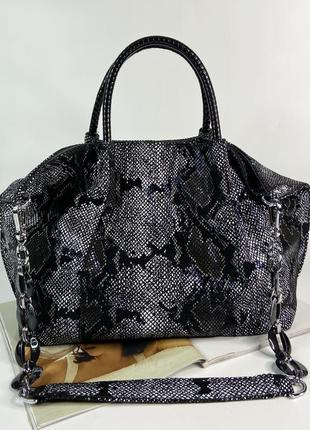 Женская кожаная сумка на плечо со структурой под змею polina & eiterou жіноча шкіряна