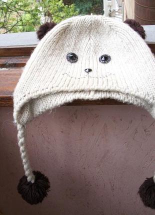 Распродажа шапка панда вязаная