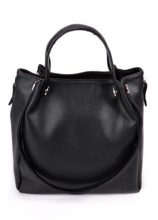 Женская черная матовая сумка шоппер с оригинальными ручками на плечо