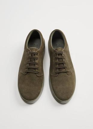 Zara новые кожаные мужские кроссовки{замша}