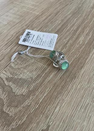 Серебряные серьги/сережки 925 пробы (агат зелёный) английская застежка