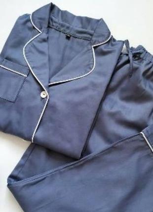 Пижама с рубашкой и штанами в классическом стиле из натурального хлопка