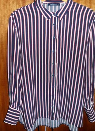 Натуральная синяя блуза в полоску lcw casual4 фото