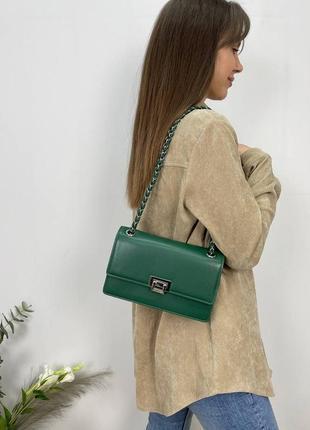 Женская сумка эко-кожа david jones темно-зеленая