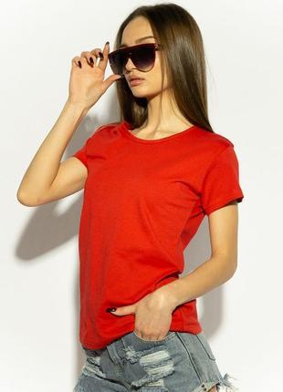 Базовая красная футболка однотонная хлопковая