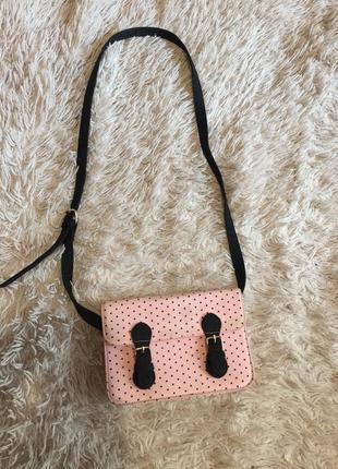 Сумка/клатч bershka, розовая в чёрный горошек