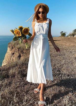 Воздушное платье миди креп-лен