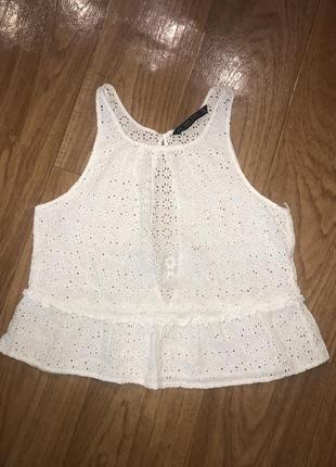 Zara белый ажурный летний кроп-топ прошва кружевная майка сетка