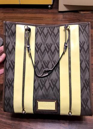 Valentino toile de v leather-trimmed jacquard yellow brown