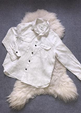 Натуральная льняная рубашка zara лён слоновая кость оверсайз свободная