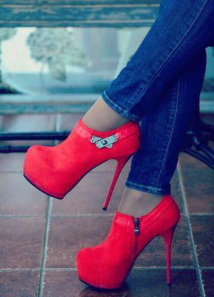 Ботильоны/красные ботильоны/ботинки высокий каблук/высокий каблук/красные ботинки
