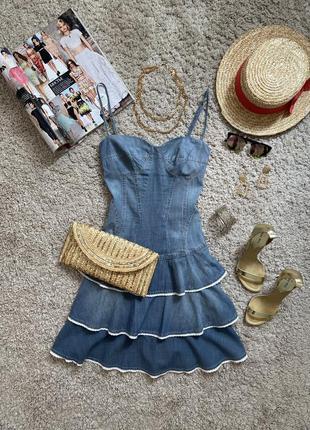 Распродажа!!! актуальное милое джинсовое платье сарафан №93 mango