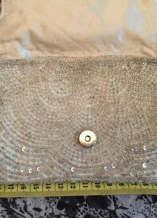 Сумочка мини клатч 21*10 декорирована бисером3 фото