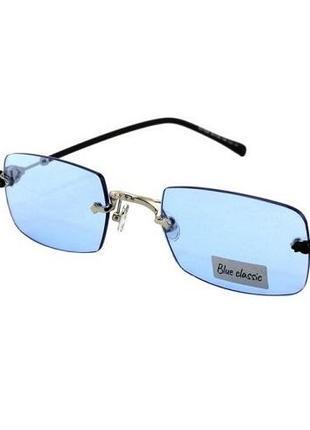 Солнцезащитные очки прямоугольные blue classic новинка 2021 голубые линзы оправа металл