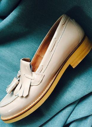 Отличные кожаные лоферы туфли пудрового цвета office london