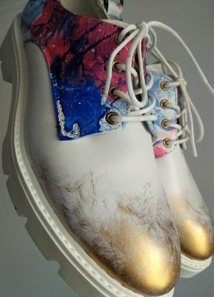 Туфли дерби, 39р кожа 100%, женские, дизайнерские