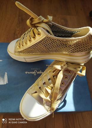 🍊🍊🍊🍊🍊крутые стильные золотые кеды слипоны сетка золотого цвета на танкетке top