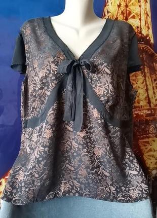 Эксклюзив! стильная блуза из шёлка с боковой молнией  размер 22 monsoon