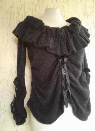 Воздушный черный свитер с жабо ,m-l2