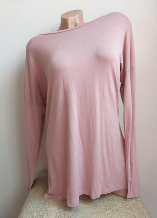 Пудровый лонгслив. футболка с длинным рукавом. туника. пыльный розовый, пудра.