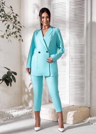 Брючный костюм. пиджак на пуговицах прямого кроя, 48-622 фото