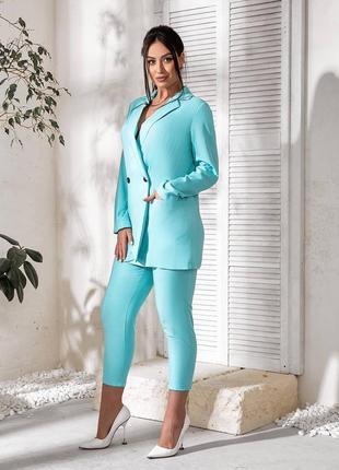 Брючный костюм. пиджак на пуговицах прямого кроя, 48-623 фото
