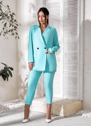 Брючный костюм. пиджак на пуговицах прямого кроя, 48-621 фото