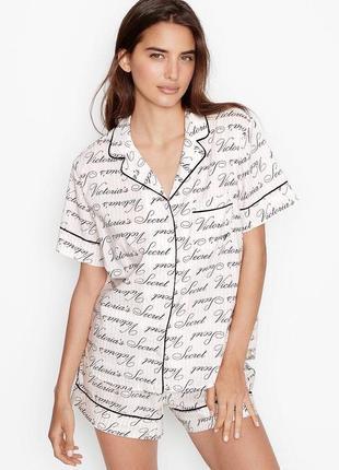 Хлопковая пижама шортами victoria's secret1 фото