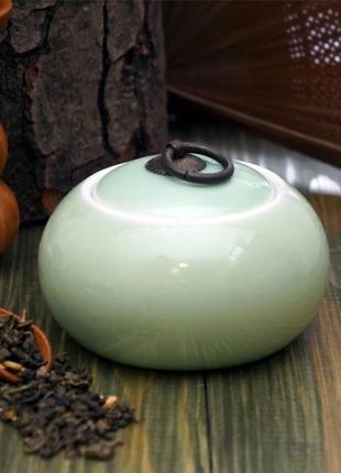 Чайница для хранения чая салатовая фаянс