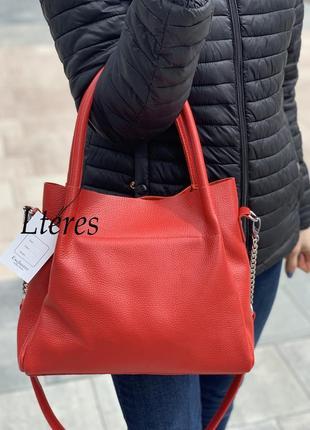 Кожаная изысканная красная сумка, цвета в ассортименте