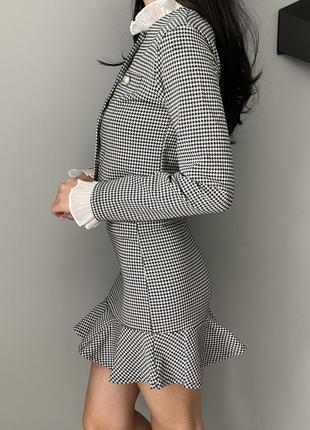 Костюм твидовый юбка кофта жемчуг chanel корея черно-белый хс