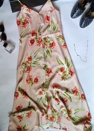 Актуальное платье - халат на пуговицах, сарафан платье миди в цветочный принт
