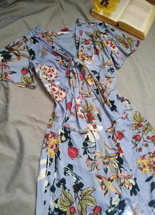 Платье mango suit floral голубое с цветами